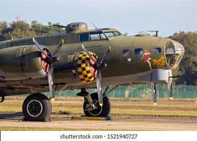 KLEINE-BROGEL, BELGIUM - SEP 14, 2019: Boeing B-17 Flying Fortress US Air Force WW2 bomber plane onthe tarmac of Kleine-Brogel Airbase.
