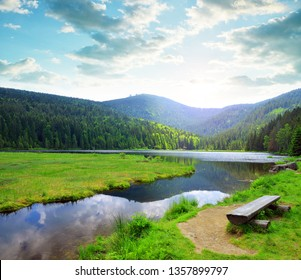 Kleiner Arbersee lake in the National park Bavarian forest,Germany. Beautiful spring landscape at sunset.