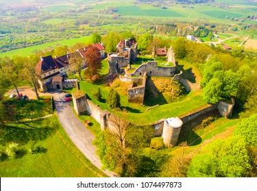 Klenova castle was built in 1291 as a part of the frontier defence system. Aerial view of famous Czech landmark. European monuments from above.