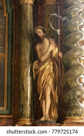 KLENOVNIK, CROATIA - AUGUST 30: Saint John the Baptist, statue on altar in the chapel of the castle in Klenovnik, Croatia on August 30, 2005.