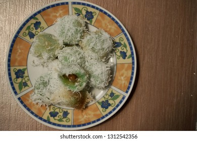 """Klepon"" Javanese food made from flour, coconut and Javanese sugar"