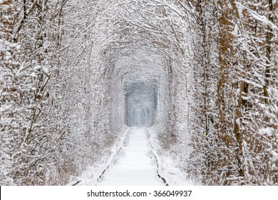Klevan's tunnel of love after heavy snowfall in winter.