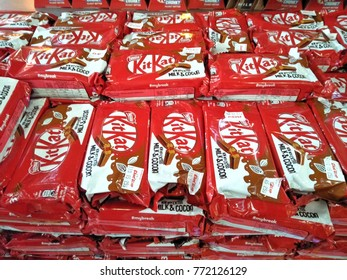 KLIA AIRPORT ,KUALA LUMPUR, MALAYSIA - DECEMBER, 2017 :  Kit Kat chocolate wafer on the shelf. Produced by Nestle.