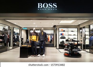 KLIA, MALAYSIA - 24 OCT 2019: Interior view of Hugo Boss fashion store at KLIA International Airport. Boss is a German luxury fashion house founded in1924 by Hugo Boss.