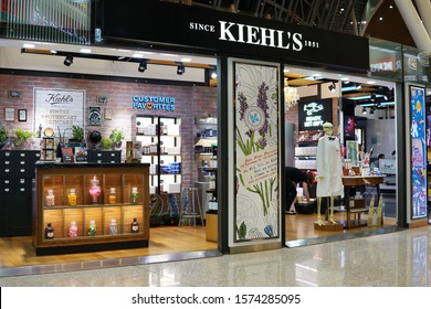 KLIA, MALAYSIA - 24 OCT 2019: Kiehl's cosmetics store in KLIA Airport Terminal. Kiehl's is an American cosmetics brand retailer that specializes in premium skin, hair, and body care products.