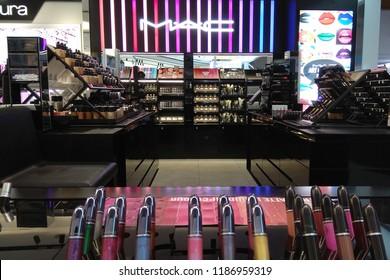 KLIA, MALAYSIA - JUNE 24, 2018: View of MAC Cosmetics Shop in KLIA2 Airport. MAC Cosmetics was founded in Toronto, Ontario, Canada in 1984, became part of Estée Lauder Companies in 1998.