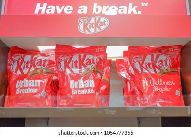 KLIA, MALAYSIA - NOVEMBER 11st , 2017 :The KitKat Chocolatory Chocolates pecialized shop.