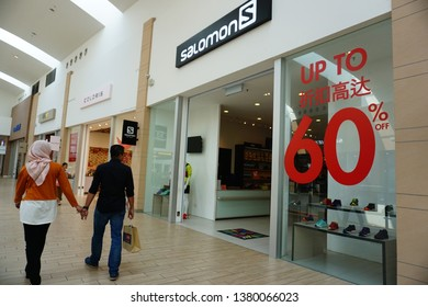 KLIA, Sepang, Malaysia, 07 FEBRUARY 2019 : Salomon shop at Mitsui Outlet Park shopping mall. Salomon is a sports equipment manufacturing company.