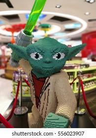 Klia2, Malaysia, circa January 2017, a huge Lego Yoda figure on Kuala Lumpur International Airport