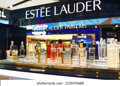 KLIA2, MALAYSIA - JUNE 28, 2018 : Estee Lauder perfume store in KLIA2 airport. Estee Lauder Companies is an American manufacturer of prestige skincare, makeup, fragrance and haircare product.