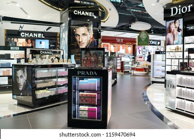 KLIA2, MALAYSIA - JUNE 28, 2018 : Various brand cosmetic store in KLIA 2 Airport. Cosmetics are the most accessible product, with counters in upmarket department stores across the world.