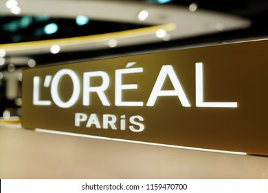 KLIA2, MALAYSIA - JUNE 28, 2018 : L'Oréal cosmetic sign in KLIA2 terminal airport, Malaysia. L'Oréal is world's largest cosmetics company in France.