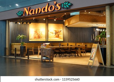 KLIA2, MALAYSIA - JUNE 28, 2018 : Nando's restaurant in KLIA2 Airport, Malaysia. Nando's is an international casual dining restaurant chain originating in South Africa.