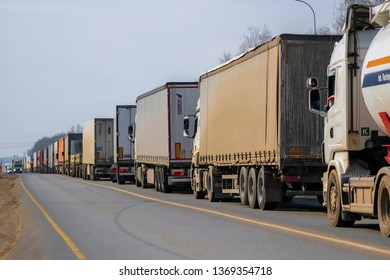 Klimovsk, Moscow region, Russia - April, 6, 2019: trucks in a traffic jam on a highway in Moscow region, Russia