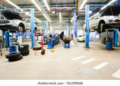 Klimovsk, Moscow region, Russia - November, 17, 2017: interior of a car repair station in Klimovsk, Russia