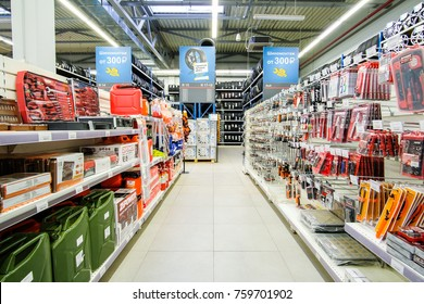 Klimovsk, Moscow region, Russsia - October, 16, 2017: interior of the car components shop in Klimovsk, Russia