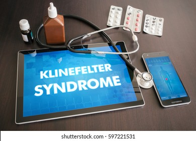 Klinefelter syndrome (endocrine disease) diagnosis medical concept on tablet screen with stethoscope.