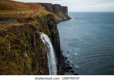 Klit Rock and Mealt Falls, a dramatic waterfall created from the outflow of Loch Mealt in Isle of Skye, Scotland, United Kingdom