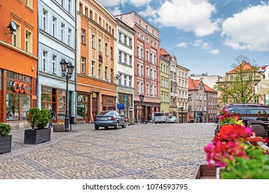 KLODZKO, POLAND - 15 April 2018: The central square Boleslawa Chrobrego in a Sunday morning