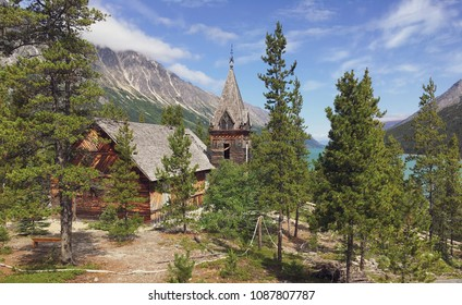 A Klondike gold rush era victorian gothic style wooden church stands above Bennett Lake. Its the only building left standing in the ghost town of Bennett BC at the northern end of the Chilkoot trail.