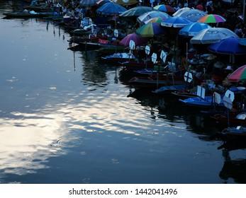 Klong Hae, Hat Yai, Thailand 23rd. March 2019.  Floating market in twilight zone at Klong Hae, Hat Yai