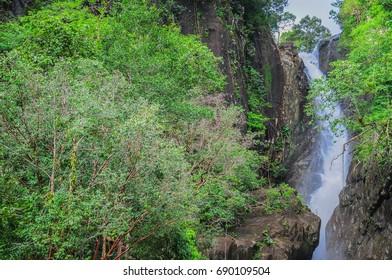 Klong Plu Waterfall in koh chang (elephant island) of Thailand in rainy season