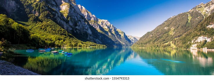 Klontalersee in canton Glarus, Switzerland, Europe.