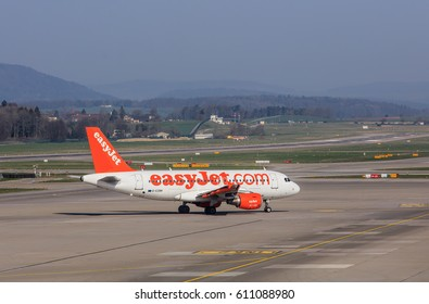 Kloten, Switzerland - 28 March, 2017: Airbus A319-111 of EasyJet taxiing in the Zurich airport. EasyJet is a British airline, operating under the low-cost carrier model, based at London Luton Airport.