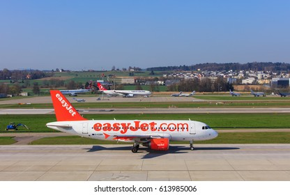 Kloten, Switzerland - 28 March, 2017: Airbus A319-111 of EasyJet taxiing in the Zurich airport. EasyJet (styled as easyJet) is a British airline, operating under the low-cost carrier model.