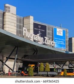 Kloten, Switzerland - 28 March, 2017: building of the Zurich Airport. The Zurich Airport, also known as the Kloten Airport, is the largest airport in Switzerland.