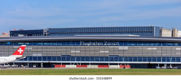 Kloten, Switzerland - 29 September, 2016: the main building of the Zurich Airport, view from the field of the airport. The Zurich Airport is the largest airport in Switzerland.