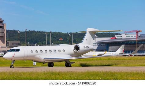 Kloten, Switzerland - June 8, 2019: a Gulfstream G650 airplane at Zurich Airport. The Gulfstream G650 is a twin-engine business jet airplane produced by the Gulfstream Aerospace company.