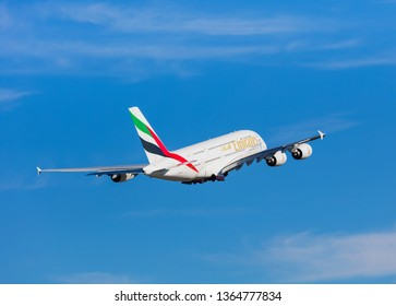 Kloten, Switzerland - September 29, 2016: Airbus A380 of the Emirates airline after taking off at Zurich Airport. Emirates is an airline based in Dubai, United Arab Emirates.