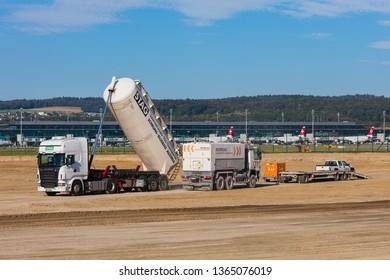 Kloten, Switzerland - September 29, 2016: construction works at Zurich Airport. Zurich Airport, also known as Kloten Airport, is the largest international airport in Switzerland.