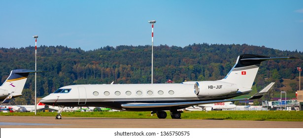 Kloten, Switzerland - September 29, 2016: a Gulfstream G650 airplane at Zurich airport. The Gulfstream G650 is a twin-engine business jet airplane produced by the Gulfstream Aerospace company.