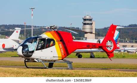 Kloten, Switzerland - September 29, 2016: a Eurocopter EC 120B Colibri helicopter at Zurich airport. The Eurocopter EC 120B Colibri is a five-seat single-engine light utility helicopter.