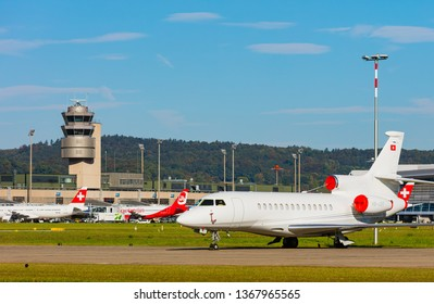 Kloten, Switzerland - September 29, 2016: view at Zurich Airport. Zurich Airport, also known as Kloten Airport, is the largest airport of Switzerland.