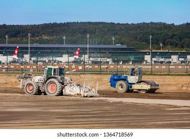 Kloten, Switzerland - September 30, 2016: construction works at Zurich Airport. Zurich Airport, also known as Kloten Airport, is the largest international airport in Switzerland.