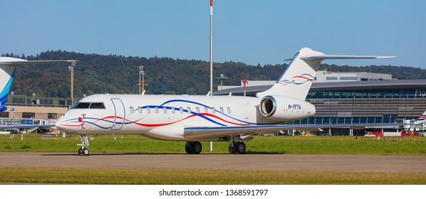 Kloten, Switzerland - September 30, 2016: a Bombardier Global 6000 jet at Zurich Airport. The Bombardier Global 6000 is a large cabin business jet manufactured by the Bombardier Aerospace company.