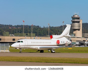 Kloten, Switzerland - September 30, 2016: a Dassault Falcon 7X jet at Zurich Airport. The Dassault Falcon 7X is a large-cabin business jet manufactured by the Dassault Aviation company.