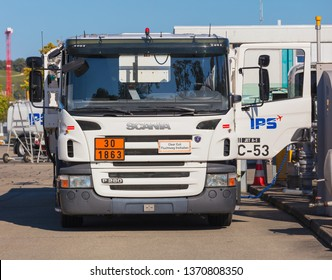 Kloten, Switzerland - September 30, 2016: a Scania P280 truck at Zurich Airport. Scania is a brand of the Scania AB company, which is a major Swedish manufacturer of heavy trucks.
