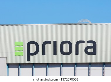 Kloten, Switzerland - September 30, 2016: a building at Zurich Airport bearing the sign of the Priora AG company. The Priora AG provides real estate construction and facility management services.