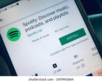 Kluang, Johor / Malaysia - July 24, 2019 : Spotify music application, spofity apps in google play store.