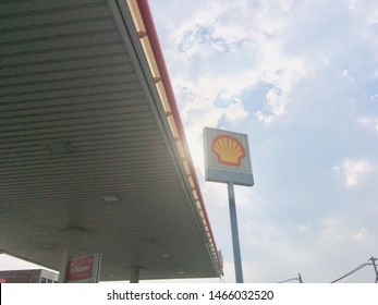 Kluang, Johor / Malaysia - July 30, 2019 : The forecourt of the Shell petrol station. Royal Duch Shell is largest oil company in the world.