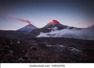 Kluchevskaya sopka and Kamen vulcans at Kamchatka with couds