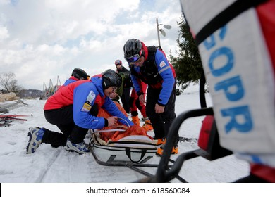 KLUSZKOWCE, POLAND - FEBRUARY 26, 2017: Mountain rescuer in  Mountains in Poland (GOPR - Mountain Volunteer Search and Rescue) Safe Winter with GOPR