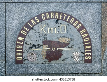 Km.0 sign plate on the pavements in Puerta del Sol in Madrid, Spain