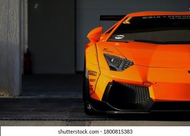 kmt, kuwait - jan, 23, 2020: orange lamborghini aventador