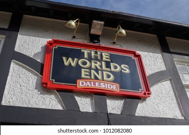 Knaresborough, England - Murch 3, 2014:  The world's end pub sign on the facade
