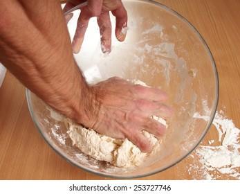 Kneading Dough. Making Dough. Preparation Meat Dumplings.